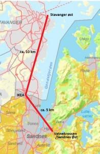 Kart som viser avstand mellom Vatnekrossen, Ikea og Stavanger Øs
